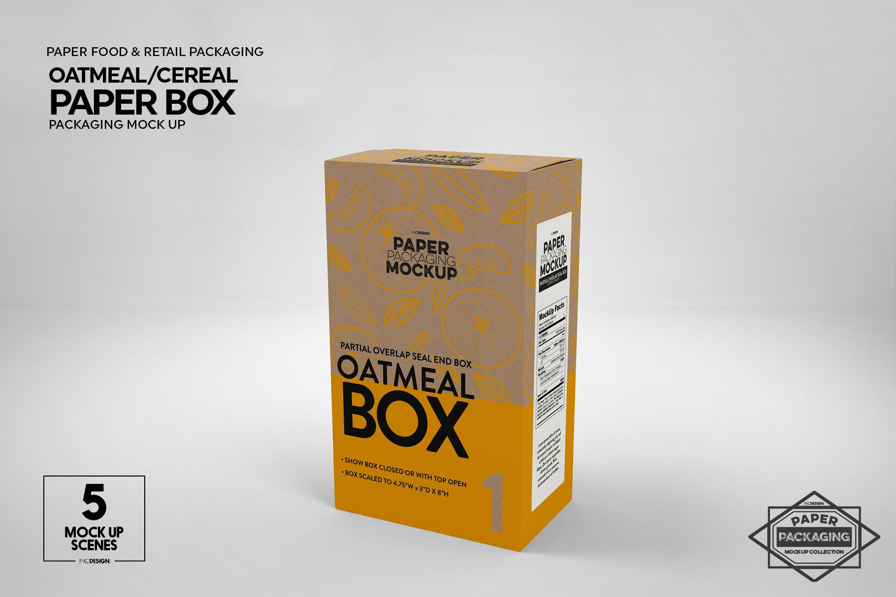 Download Paper Oatmeal Cereal Box Packaging Mockup By Inc Design Studio Thehungryjpeg Com Cereal Ad Packaging Mockup Free Packaging Mockup Brochure Design Template