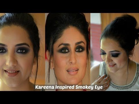 Bollywood/ Kareena kapoor inspired Intense black smokey eye makeup tutorial  perfect for indian/brown/olive skin. Perfect Indian black smokey eyes to  look .