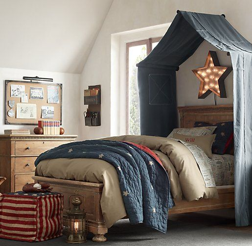 I like this canopy idea. Super cute for a boys bedroom. & Classic Vintage-Washed Patchwork Canvas Tent Canopy - here is BNs ...