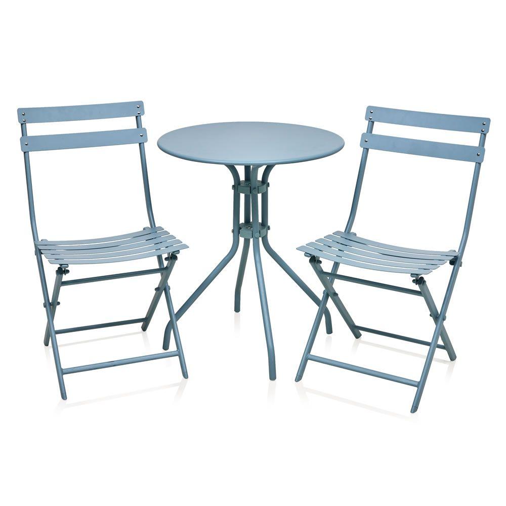 Wilko Steel Bistro Set Blue | Backyard landscapes | Pinterest