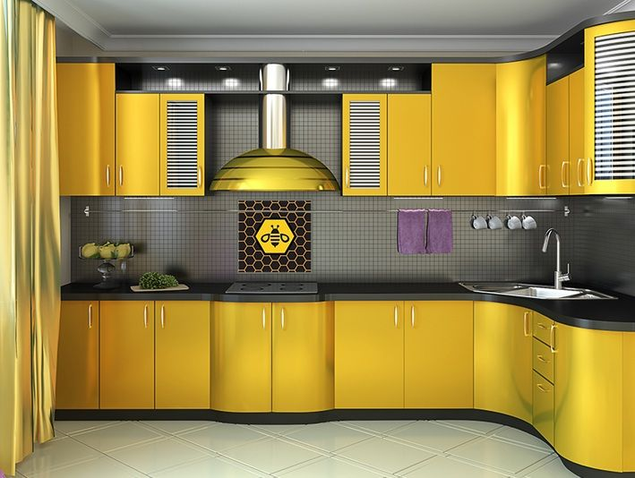 Honey Bee Kitchen Decor With Yellow Cabinet | Decolover.net