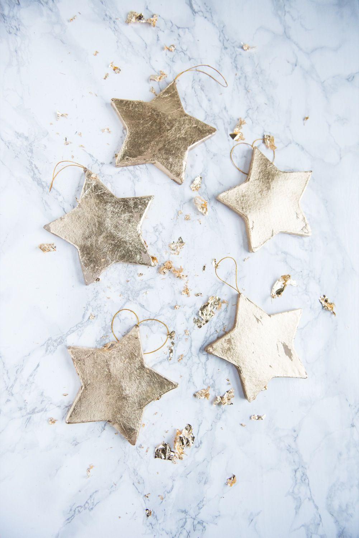DIY Gold Leaf Star Ornaments | we love christmas | Pinterest ...