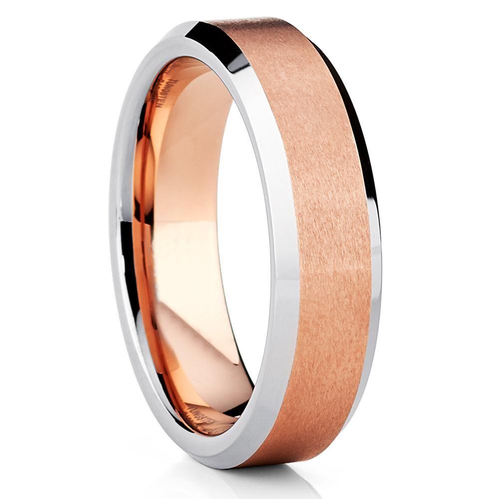 6mm Rose Gold Tungsten Ring Tungsten Wedding Band