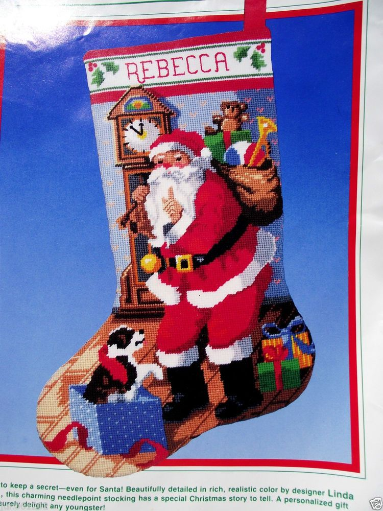 Needlepoint Stocking Kit Dimensions Christmas Eve Santa