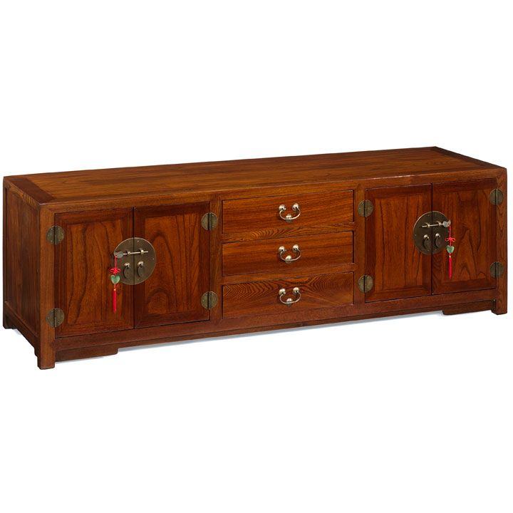 Low Chinese Cabinet Oriental Style Tv In Natural Or Black Lacquer