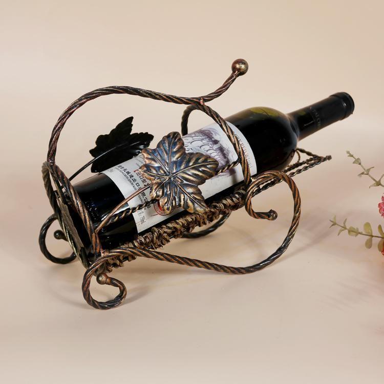 village elegant antique color metal wine bottle rack holder tyjj034 storage iron display decor