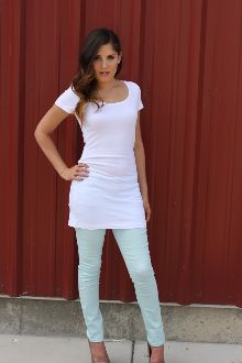 Short Sleeve Long Basic Tee - White #bellaellaboutique