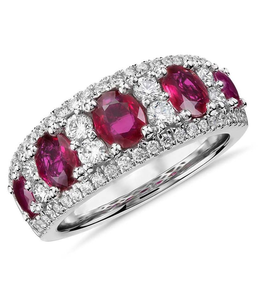 Oval ruby and diamond ring in 14k white gold 055 ct tw