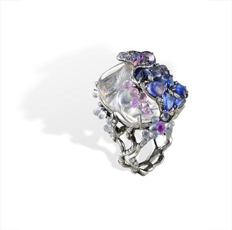 Ring | Arunashi Designs. 18k gold, opal,  sapphires, and diamond accents.