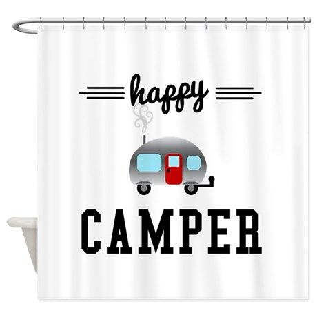 Happy Camper Shower Curtain By Megan Noble Art And Design With Images Red Shower Curtains