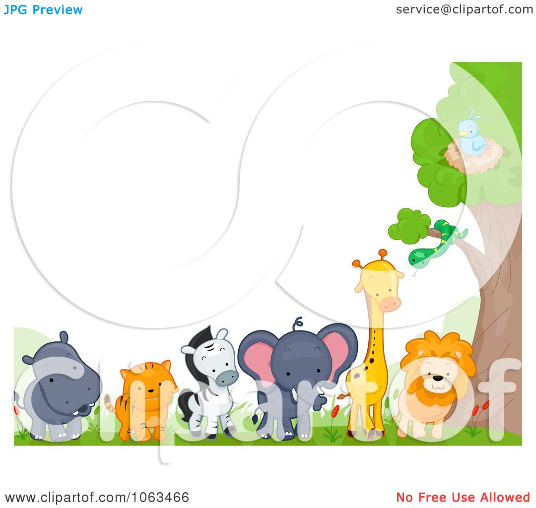 Clipart Border Of Wild Animals By A Tree Royalty Free Vector Clip Art Borders Jungle Border Animals Wild