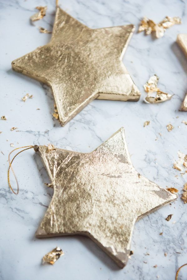 DIY Gold Leaf Star Ornaments - The Sweetest Occasion