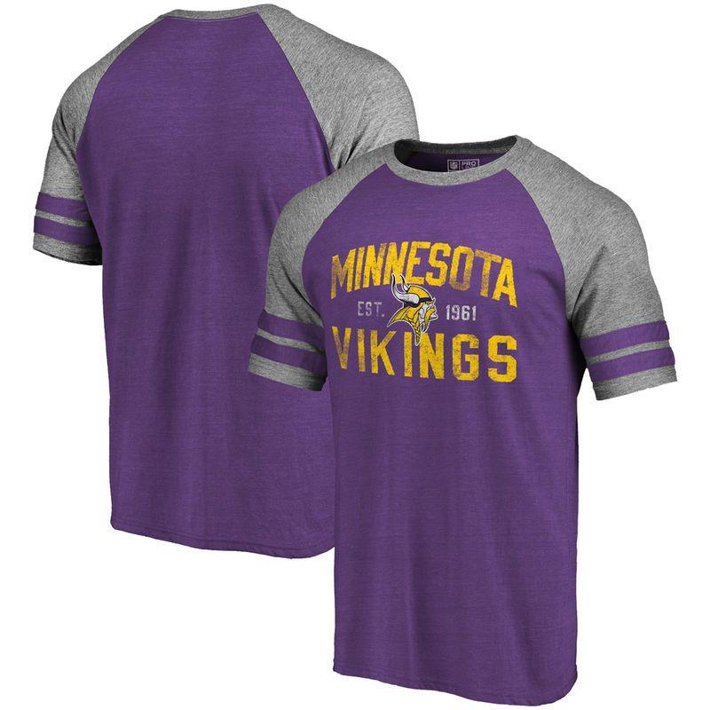 19508540fff Minnesota Vikings Pro Line by Fanatics Branded Refresh Tenacity Retro  Raglan Tri-Blend T-Shirt - Purple