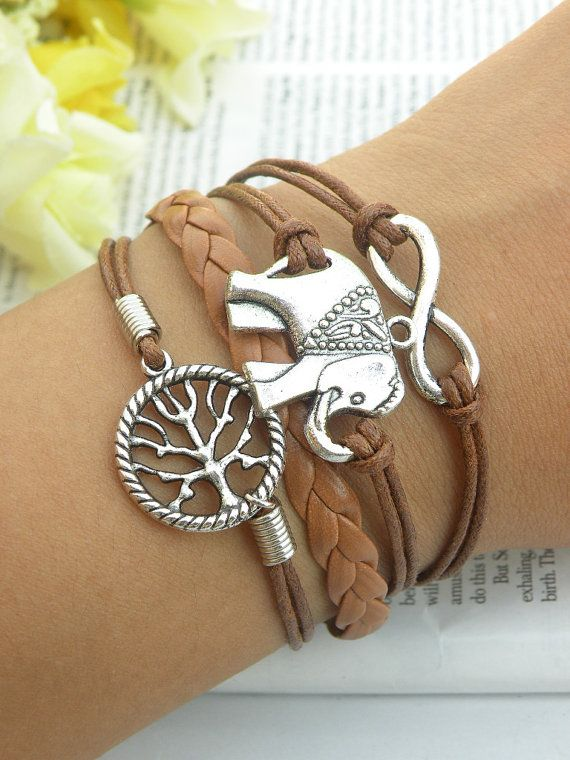 Bruin Lederen Armband Elephant Infinity Tree of Life Charms Vriendschap Braclet BST-160