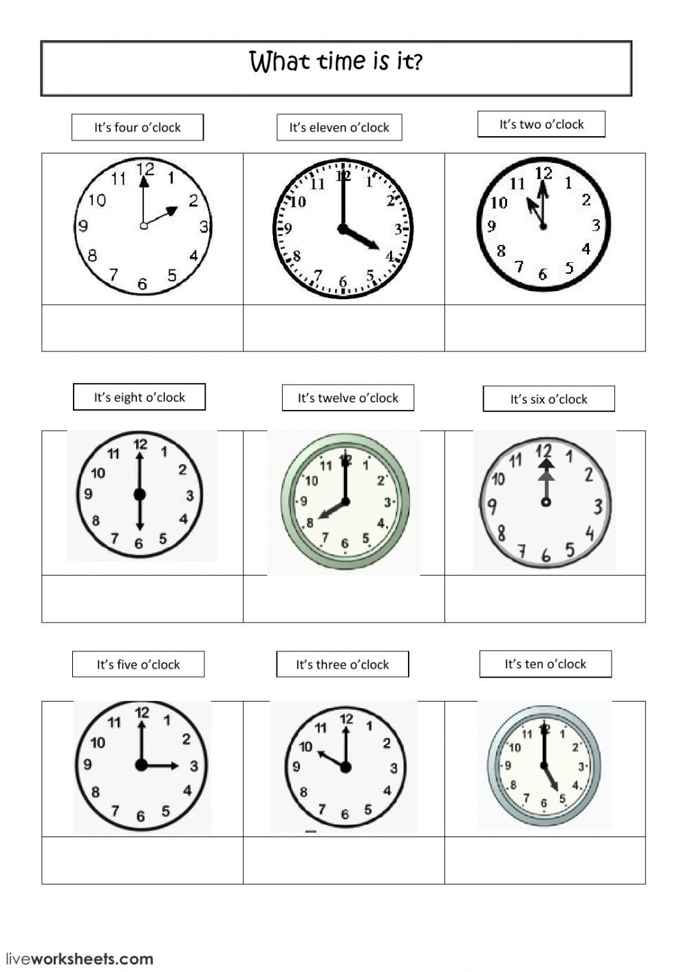 Telling the time online exercise. You can do the exercises