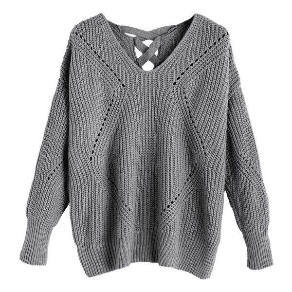 Sheer Criss Cross V Neck Sweater Gray (1,500 INR) ❤ liked on ...
