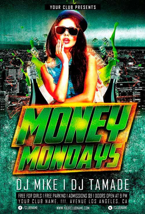 Money Monday Party Free Flyer Template - http\/\/freepsdflyer - comedy show flyer template