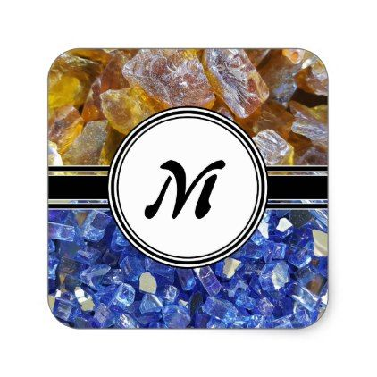 Blue and Amber Crystals Monogram Square Sticker - monogram gifts unique custom diy personalize