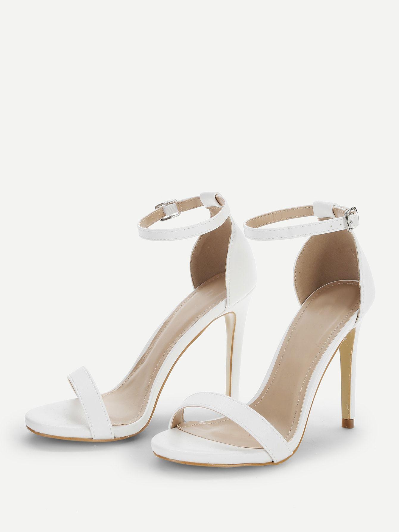 33a72eadf22 Elegant Open Toe Plain Ankle strap White High Heel Stiletto Single ...