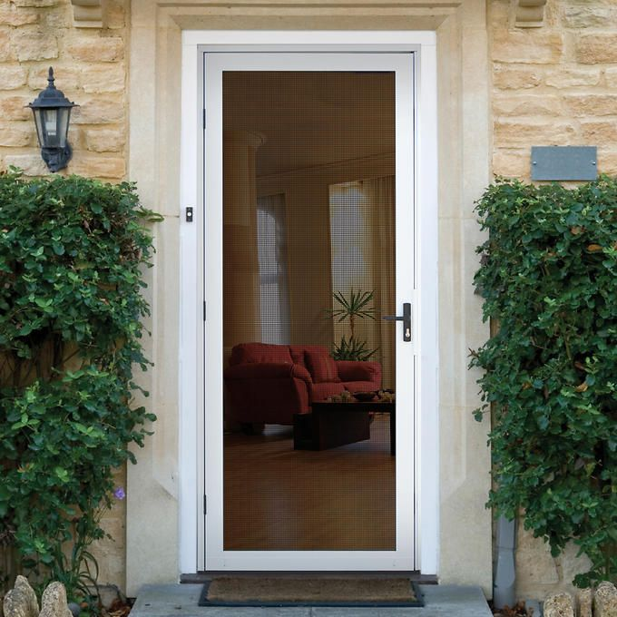 Meshtec Security Door By Titan White Finish Heavy Duty Aluminum Frame Will Never Rust High Tensile Strength Stainless Steel