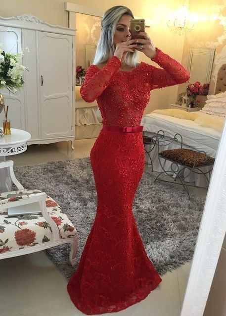 Red Prom Dress,Mermaid Prom Dress,Lace Prom Gown,BeadedProm Dresses,Sexy Evening Gowns,Long Sleeves Evening Gown,Open Back Formal Dress For Teens
