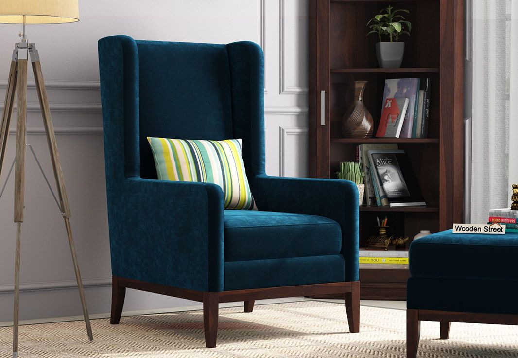 Buy Joan Lounge Chair Velvet Indigo Blue Online In India Wooden Street In 2020 Single Sofa Chair High Back Chairs Lounge Chairs Living Room