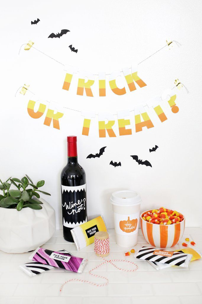 6 Halloween Decor DIYs You Can Make in Less Than 10 Minutes Candy corn - cute halloween gift ideas