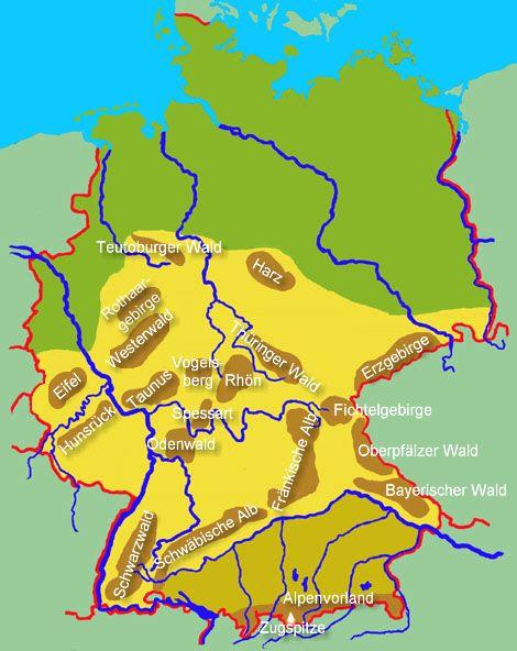 Ubersichtskarte Der Deutschen Gebirge Deutschland