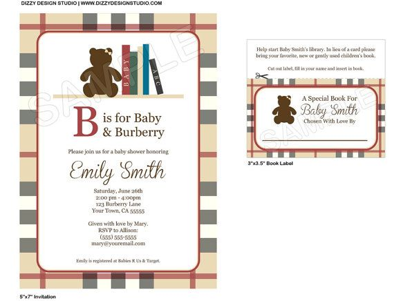 Burberry+Inspired+Baby+Shower+Invitation++Set+by+DizzyDesignStudio - how to make a baby shower invitation on microsoft word