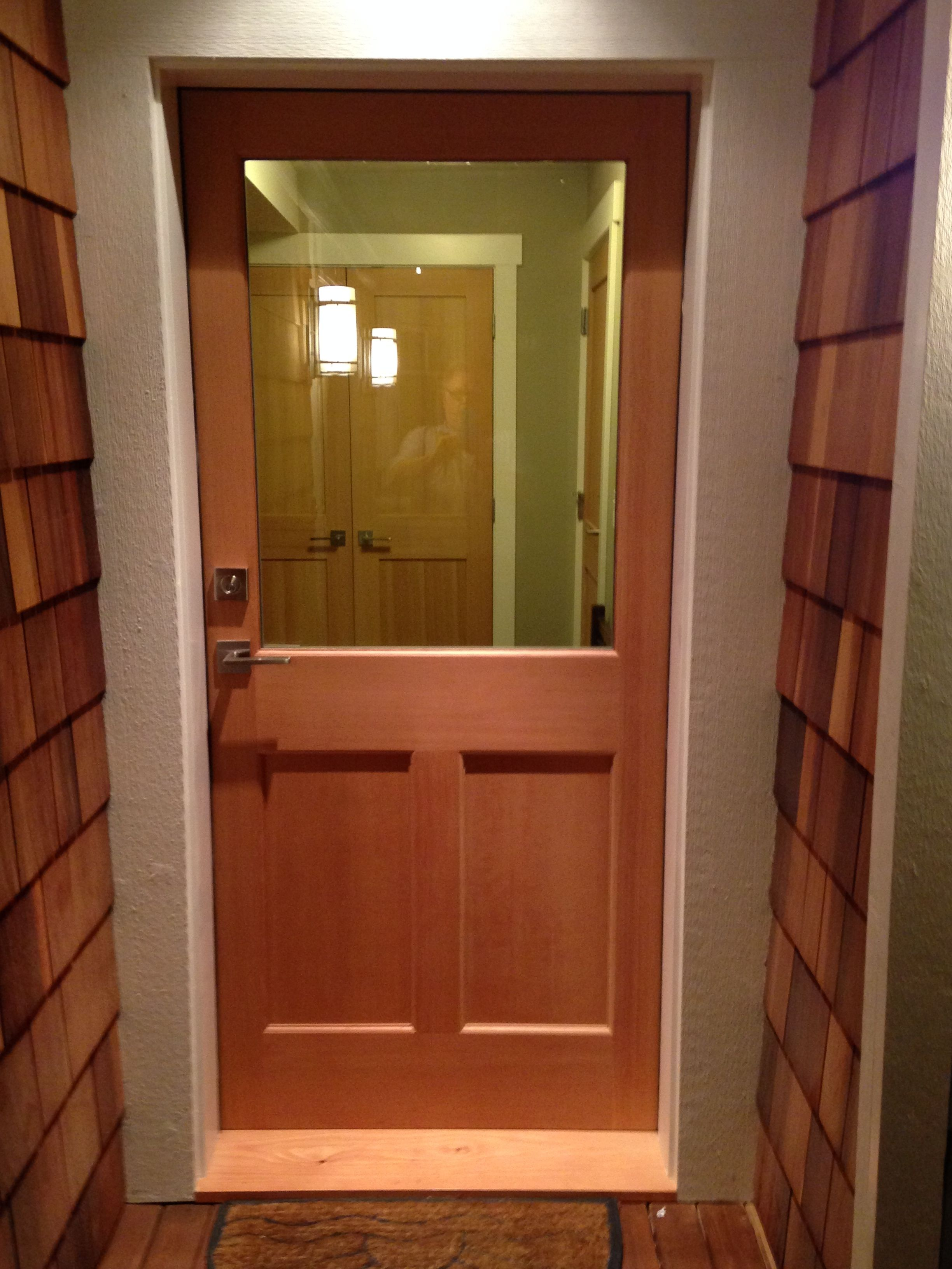 Door Express EXTERIOR HALF LITE SHAKER OR CRAFTSMAN WITH TWO PANEL on