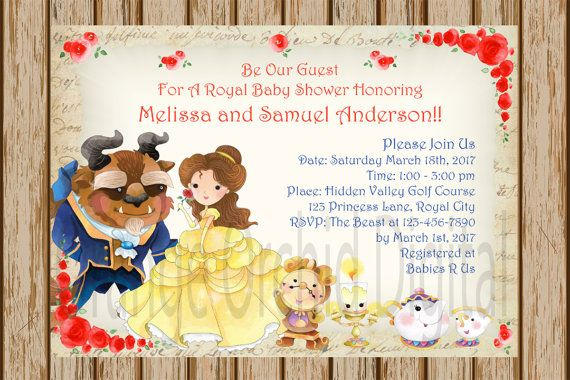 Charming Beauty And The Beast Baby Shower Invitation Belle Baby