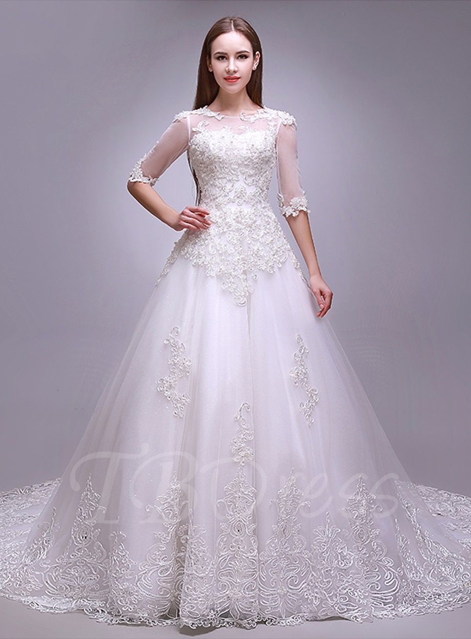 Applique Beading Half Sleeves Plus Size Wedding Dress Discount Wedding Dresses Online Wedding Dress Wedding Dresses Lace [ 1248 x 920 Pixel ]