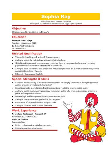 McDonaldu0027s Cashier Resume Template Resume Templates and Samples - ideal objective for resume