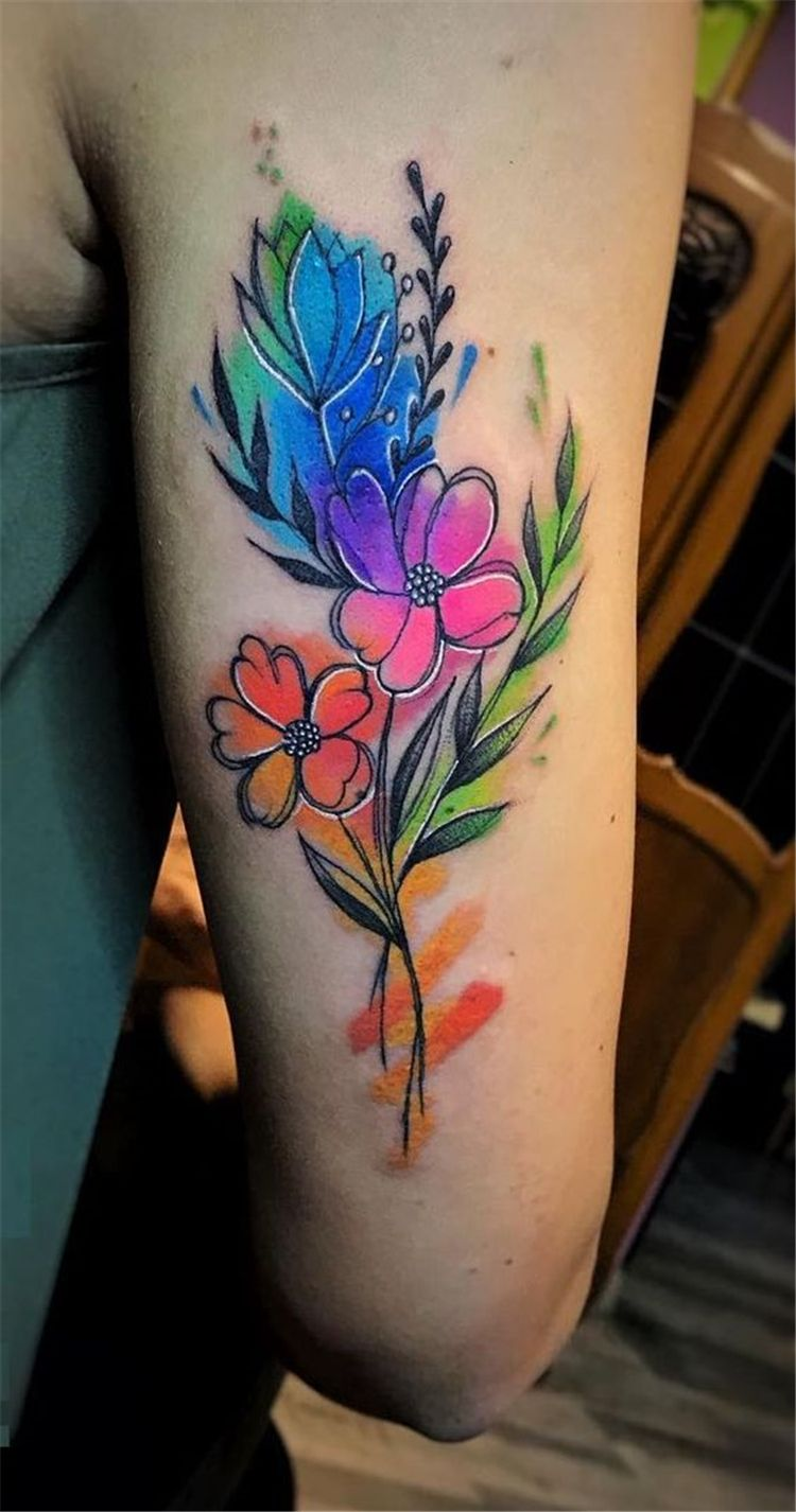 Gorgeous Watercolor Floral Tattoo Designs For Women Gorgeous Watercolor Floral Tattoo Watercolor Floral Tattoo Sleeve Floral Tattoo Tattoo Designs For Girls
