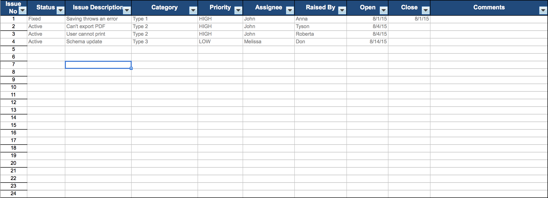 Issue Tracking Template Excel Templates Project Management Templates Templates