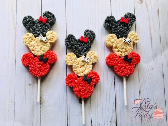 6 Minnie Mouse Rice Crispy Krispie Treats Kabob Homemade Baby Shower Birthday Mickey Mouse Clubhouse