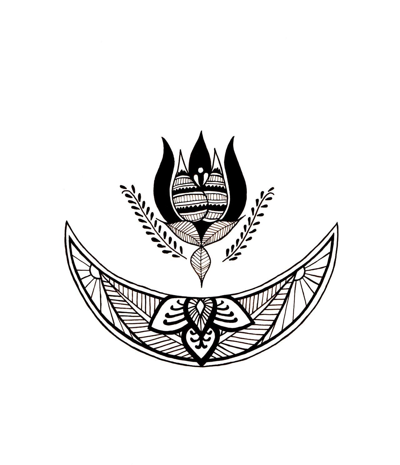 Dear Art Photo Tattoos, Moon tattoo, Flower of life tattoo