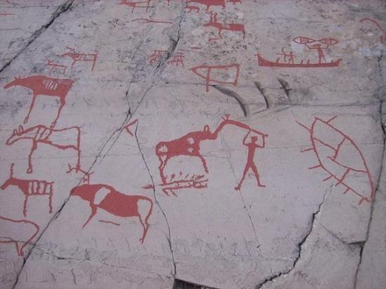 Ancient rock carvings petroglyphs alta norway stock photo edit