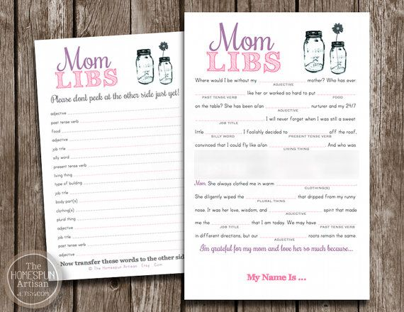 Mom Libs Mothers Day Card Celebrate Mom With A Funny Madlibs Game