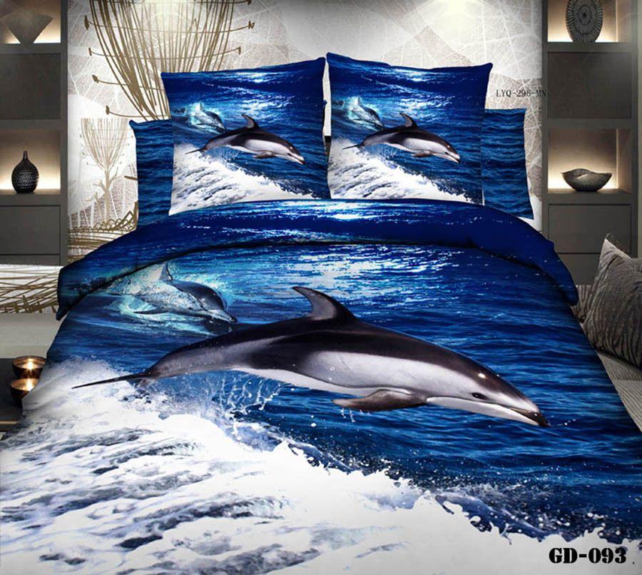 3d dolphin blue ocean bedding set california king quilt duvet cover bedspread bed in a bag