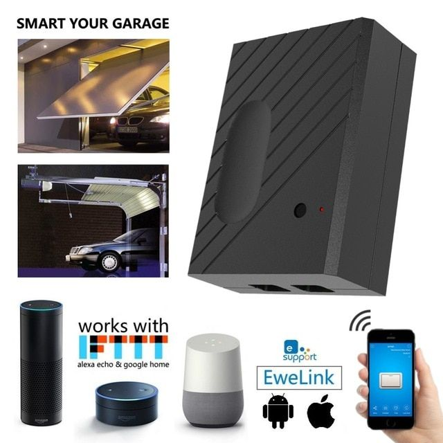 Ewelink Wifi Garage Door Controller Switch For Car Garage Door Opener App Remote Control Timing Voice Co Garage Door Controller Garage Doors Garage Door Opener