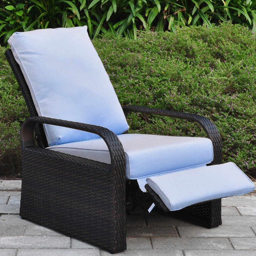 Outdoor Resin Wicker Patio Recliner Chair with Cushions, Patio Furniture  Auto Adjustable Rattan Sofa with - Outdoor Resin Wicker Patio Recliner Chair With Cushions, Patio