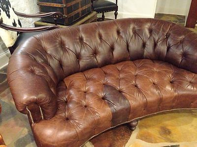Horchow Old Hickory Tannery Tufted Leather Sofa Distressed Nailhead Only One Now