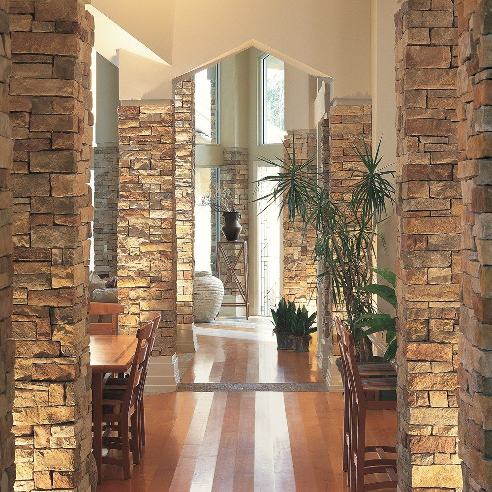 Love Interior Stone Accent Walls And Columns Gives Rustic Classy