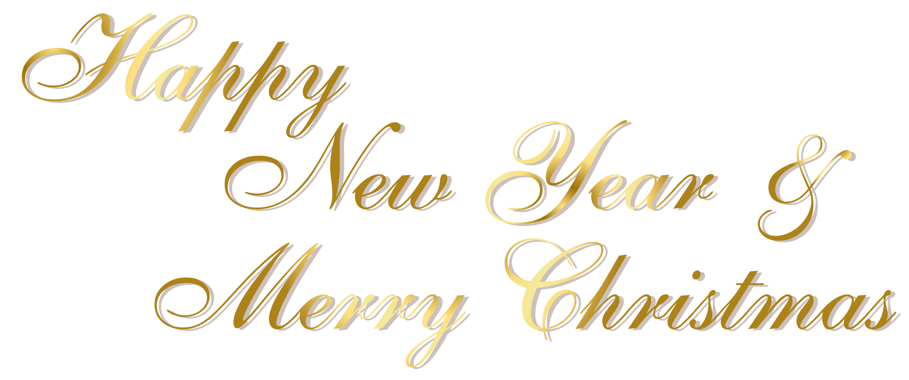 Gold Happy New Year and Merry Christmas PNG Text Happy