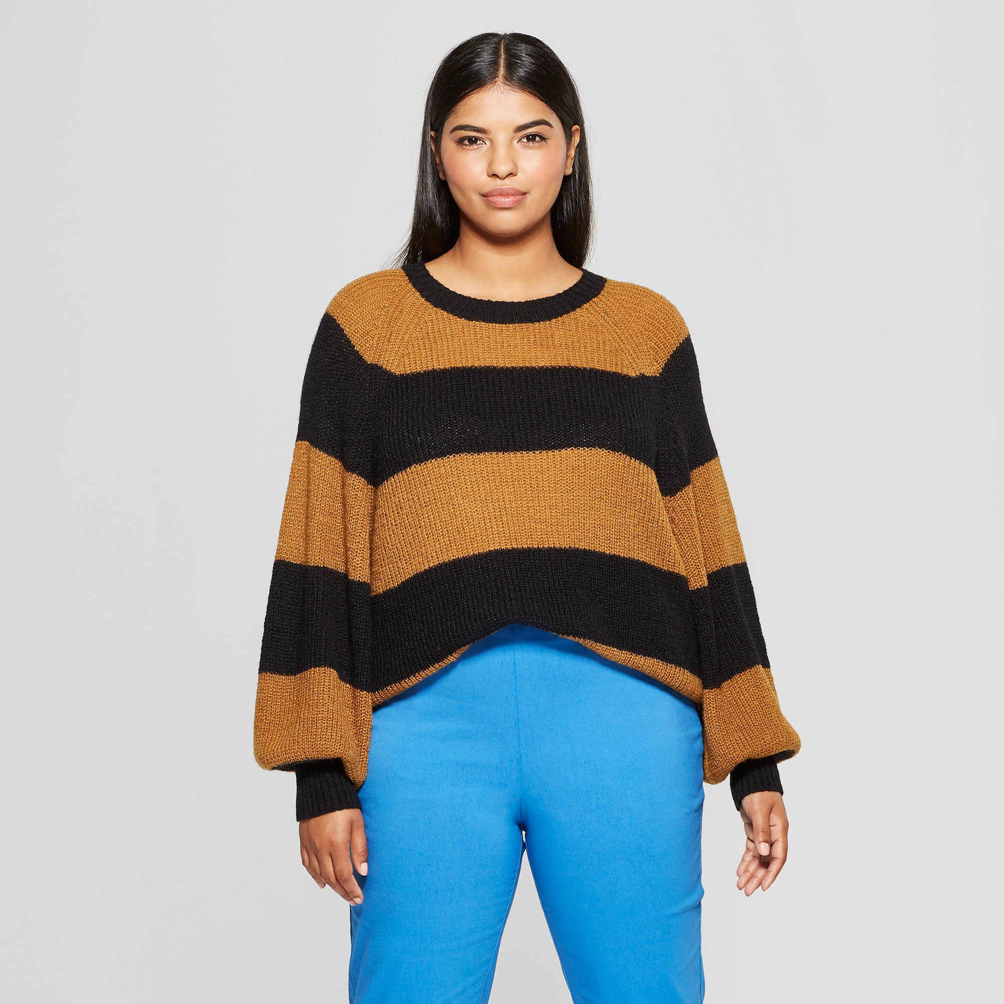 Womens plus size striped long sleeve cozy crew neck sweater who what wear  black brown black 520f33fb8