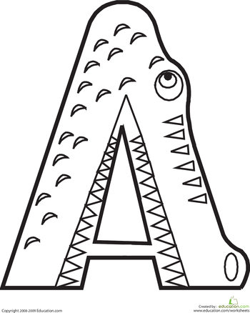 letter a coloring page | animal alphabet - Alphabet Printable Coloring Pages