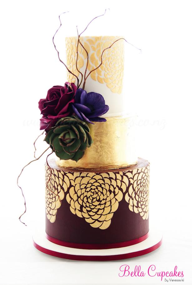 Metallic Wedding Cake ~ by Bella Cupcakes More