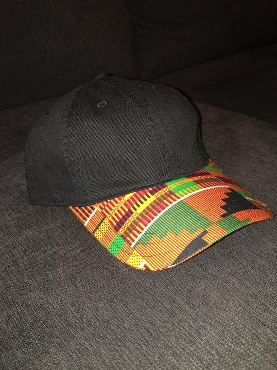 8ce0afc52dc Kente Cloth- BLACK Dad Hat Baseball cap (Custom Brim)