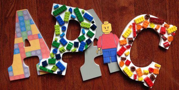 Buchstaben für Kinderzimmer, Lego Themen Buchstaben, Holzbuchstaben Custom Lego Room Decor